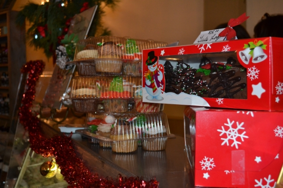 Yule logs and packages of cupcakes